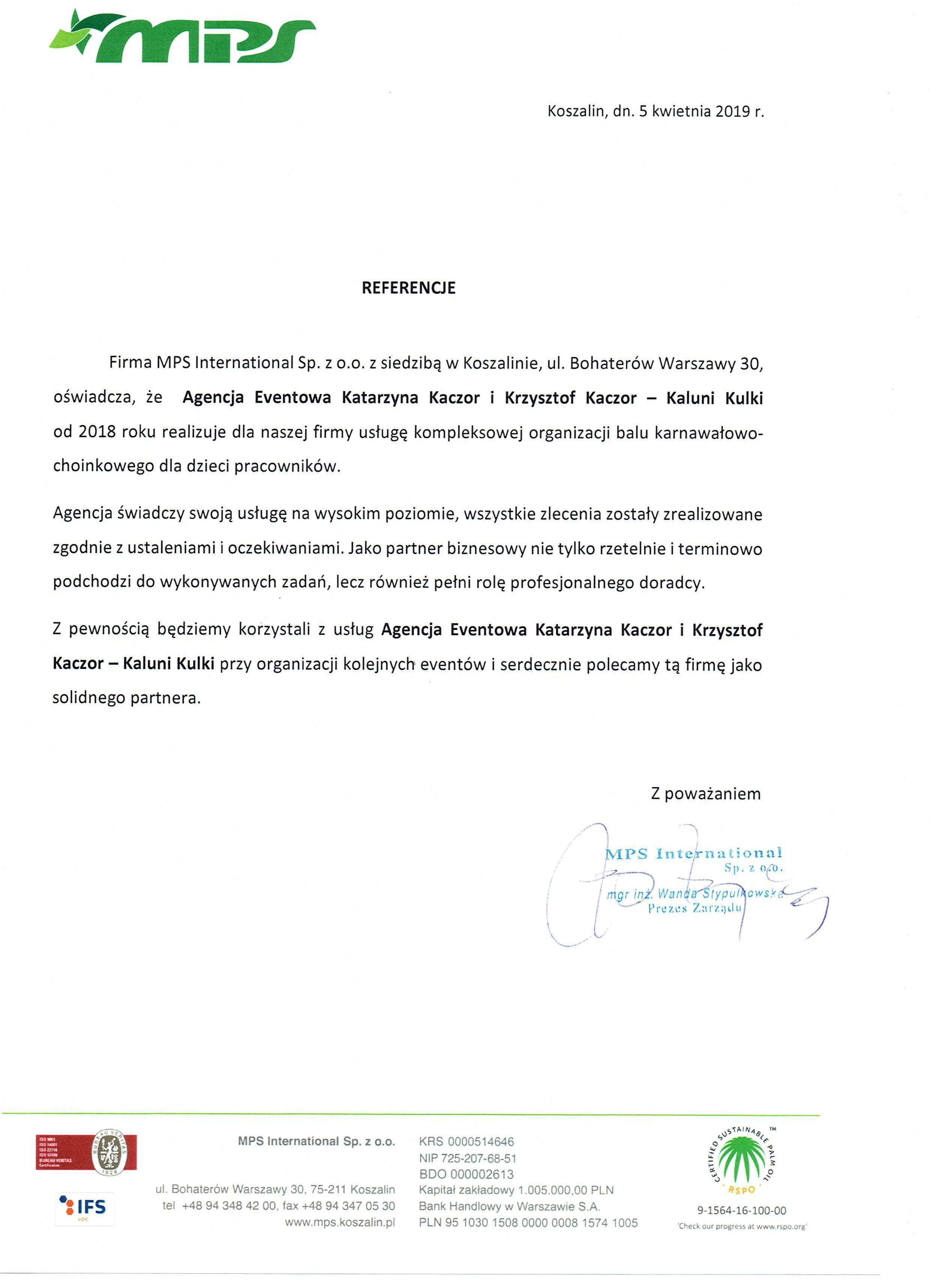 MPS International Prezes Zarządu mgr inż. Wanda Stypułkowska