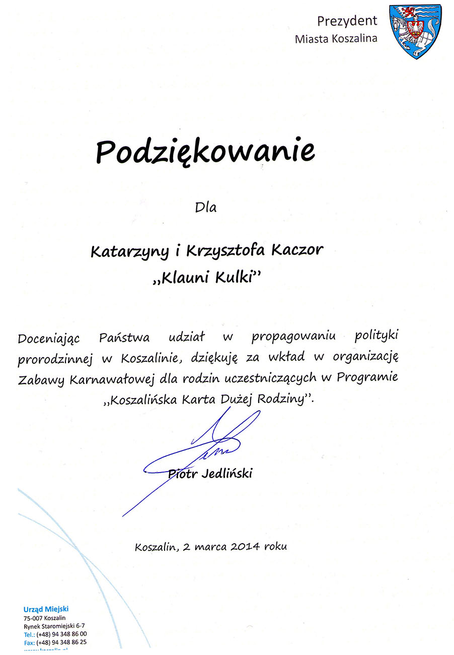 Prezydent Miasta Koszalin Piotr Jedliński